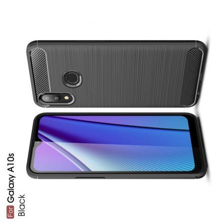 Carbon Fibre Силиконовый матовый бампер чехол для Samsung Galaxy A10s Черный