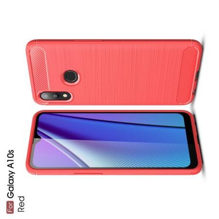 Carbon Fibre Силиконовый матовый бампер чехол для Samsung Galaxy A10s Красный