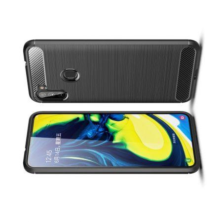 Carbon Fibre Силиконовый матовый бампер чехол для Samsung Galaxy A11 Черный