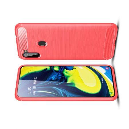 Carbon Fibre Силиконовый матовый бампер чехол для Samsung Galaxy A11 Красный