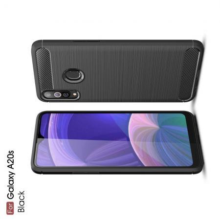 Carbon Fibre Силиконовый матовый бампер чехол для Samsung Galaxy A20s Черный