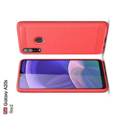 Carbon Fibre Силиконовый матовый бампер чехол для Samsung Galaxy A20s Красный
