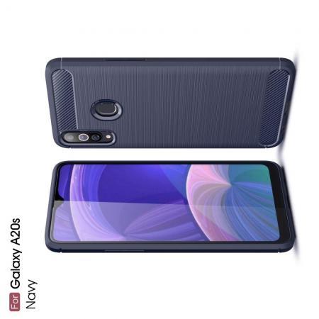 Carbon Fibre Силиконовый матовый бампер чехол для Samsung Galaxy A20s Синий