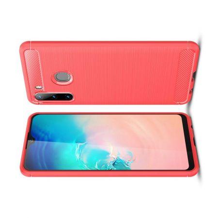 Carbon Fibre Силиконовый матовый бампер чехол для Samsung Galaxy A21 Красный