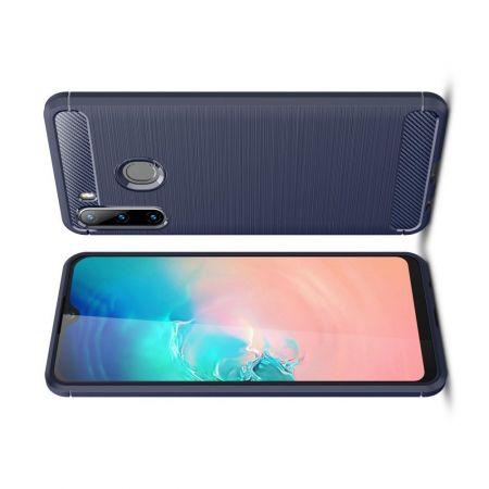 Carbon Fibre Силиконовый матовый бампер чехол для Samsung Galaxy A21 Синий