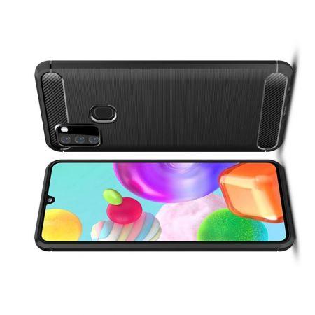 Carbon Fibre Силиконовый матовый бампер чехол для Samsung Galaxy A21s Черный
