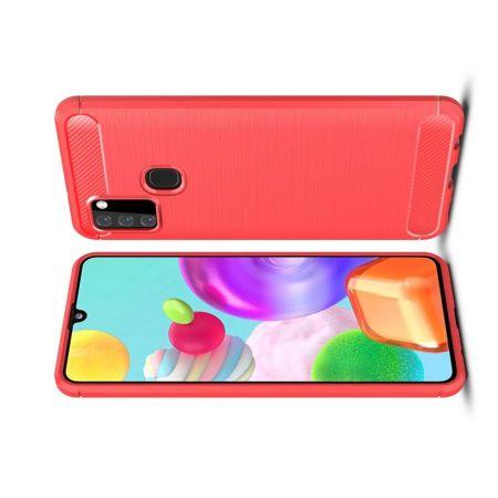 Carbon Fibre Силиконовый матовый бампер чехол для Samsung Galaxy A21s Красный