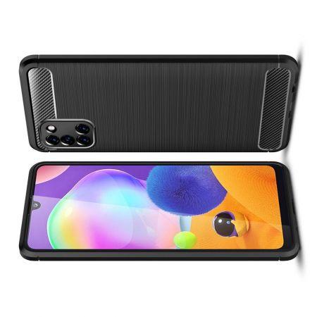 Carbon Fibre Силиконовый матовый бампер чехол для Samsung Galaxy A31 Черный