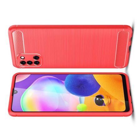 Carbon Fibre Силиконовый матовый бампер чехол для Samsung Galaxy A31 Красный