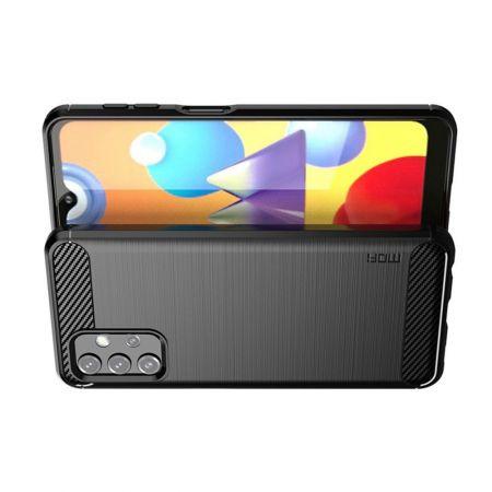 Carbon Fibre Силиконовый матовый бампер чехол для Samsung Galaxy A32 Черный