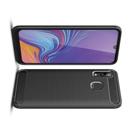 Carbon Fibre Силиконовый матовый бампер чехол для Samsung Galaxy A40 Черный