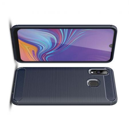 Carbon Fibre Силиконовый матовый бампер чехол для Samsung Galaxy A40 Синий
