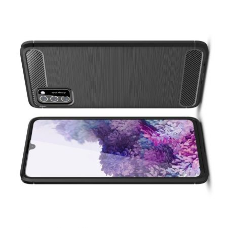 Carbon Fibre Силиконовый матовый бампер чехол для Samsung Galaxy A41 Черный