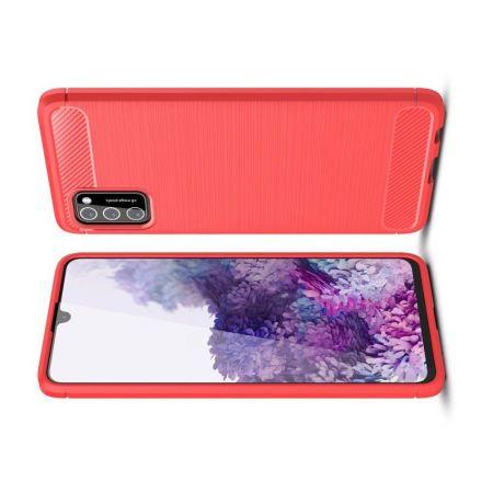 Carbon Fibre Силиконовый матовый бампер чехол для Samsung Galaxy A41 Красный