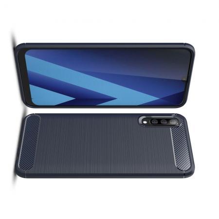 Carbon Fibre Силиконовый матовый бампер чехол для Samsung Galaxy A50 Синий