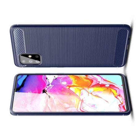 Carbon Fibre Силиконовый матовый бампер чехол для Samsung Galaxy A51 Синий