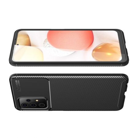 Carbon Fibre Силиконовый матовый бампер чехол для Samsung Galaxy A52 Черный