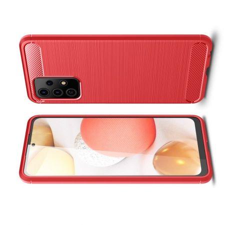 Carbon Fibre Силиконовый матовый бампер чехол для Samsung Galaxy A52 Красный
