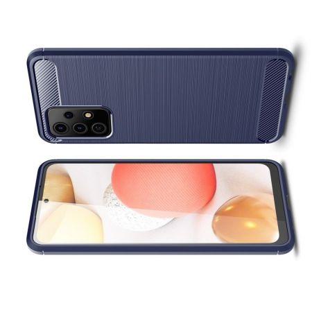 Carbon Fibre Силиконовый матовый бампер чехол для Samsung Galaxy A52 Синий
