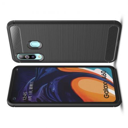 Carbon Fibre Силиконовый матовый бампер чехол для Samsung Galaxy A60 Черный
