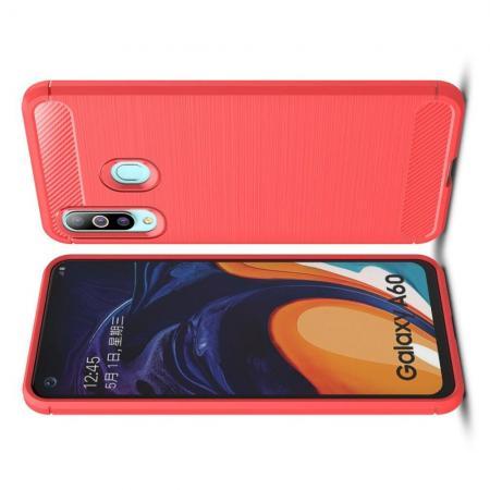 Carbon Fibre Силиконовый матовый бампер чехол для Samsung Galaxy A60 Коралловый