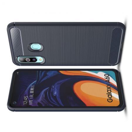 Carbon Fibre Силиконовый матовый бампер чехол для Samsung Galaxy A60 Синий