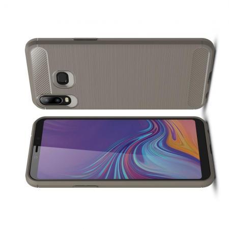 Carbon Fibre Силиконовый матовый бампер чехол для Samsung Galaxy A6s Серый