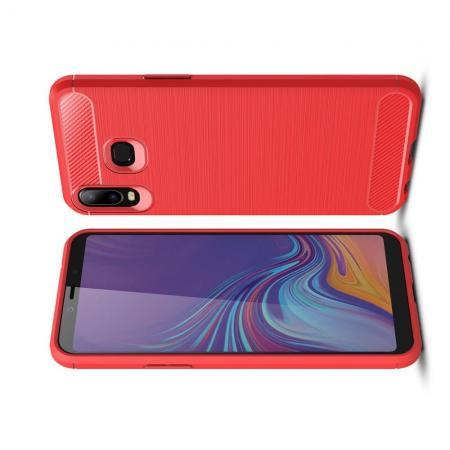 Carbon Fibre Силиконовый матовый бампер чехол для Samsung Galaxy A6s Коралловый