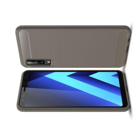 Carbon Fibre Силиконовый матовый бампер чехол для Samsung Galaxy A7 2018 SM-A750 Серый