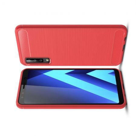 Carbon Fibre Силиконовый матовый бампер чехол для Samsung Galaxy A7 2018 SM-A750 Коралловый