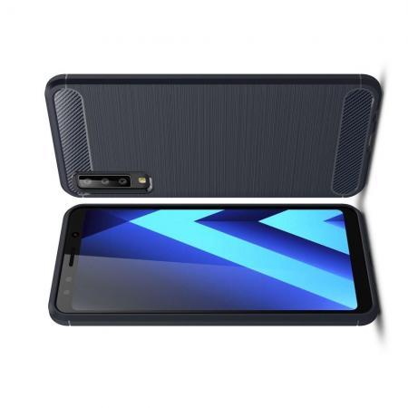 Carbon Fibre Силиконовый матовый бампер чехол для Samsung Galaxy A7 2018 SM-A750 Синий