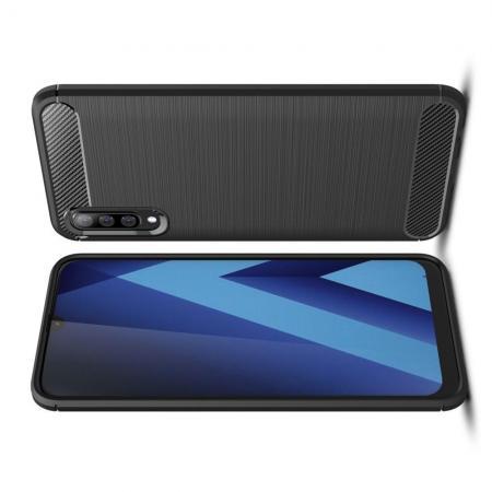 Carbon Fibre Силиконовый матовый бампер чехол для Samsung Galaxy A70 Черный