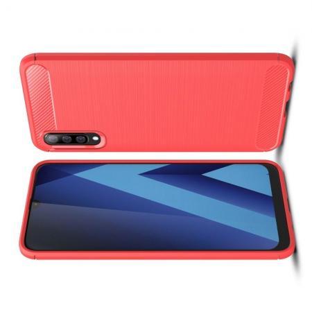 Carbon Fibre Силиконовый матовый бампер чехол для Samsung Galaxy A70 Коралловый