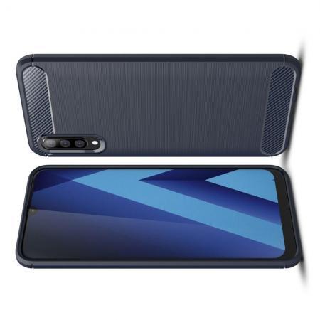 Carbon Fibre Силиконовый матовый бампер чехол для Samsung Galaxy A70 Синий