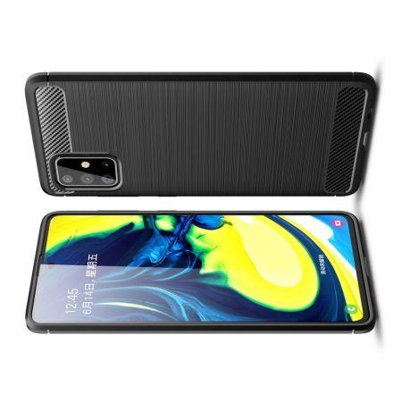 Carbon Fibre Силиконовый матовый бампер чехол для Samsung Galaxy A71 Черный