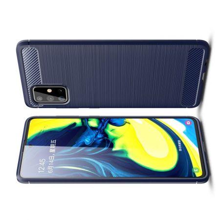 Carbon Fibre Силиконовый матовый бампер чехол для Samsung Galaxy A71 Синий