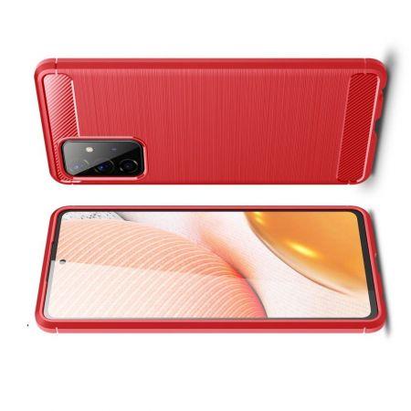 Carbon Fibre Силиконовый матовый бампер чехол для Samsung Galaxy A72 Красный