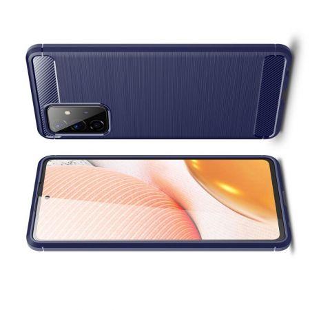 Carbon Fibre Силиконовый матовый бампер чехол для Samsung Galaxy A72 Синий