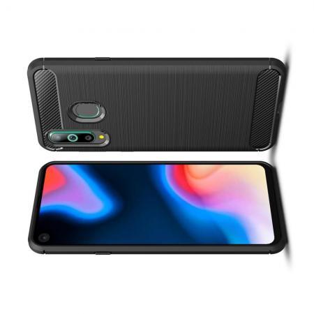 Carbon Fibre Силиконовый матовый бампер чехол для Samsung Galaxy A8s Черный
