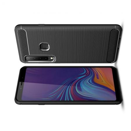 Carbon Fibre Силиконовый матовый бампер чехол для Samsung Galaxy A9 2018 SM-A920F Черный