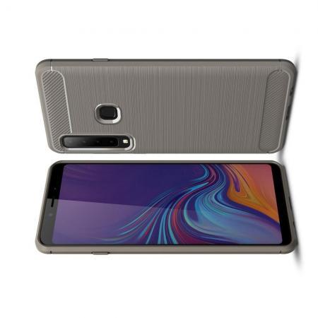 Carbon Fibre Силиконовый матовый бампер чехол для Samsung Galaxy A9 2018 SM-A920F Серый