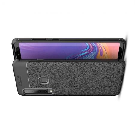 Litchi Grain Leather Силиконовый Накладка Чехол для Samsung Galaxy A9 2018 SM-A920F с Текстурой Кожа Черный