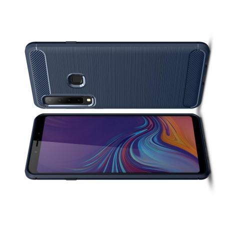 Carbon Fibre Силиконовый матовый бампер чехол для Samsung Galaxy A9 2018 SM-A920F Синий
