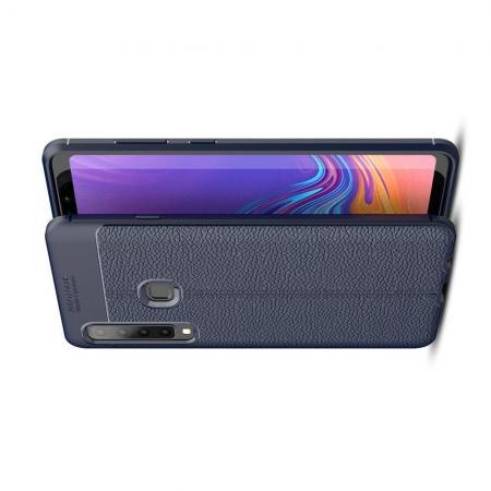 Litchi Grain Leather Силиконовый Накладка Чехол для Samsung Galaxy A9 2018 SM-A920F с Текстурой Кожа Синий