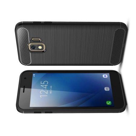 Carbon Fibre Силиконовый матовый бампер чехол для Samsung Galaxy J2 Core (2020) Черный