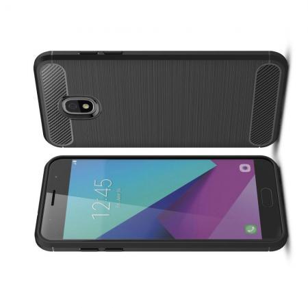 Carbon Fibre Силиконовый матовый бампер чехол для Samsung Galaxy J3 2018 Черный