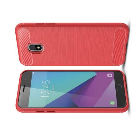 Carbon Fibre Силиконовый матовый бампер чехол для Samsung Galaxy J3 2018 Красный