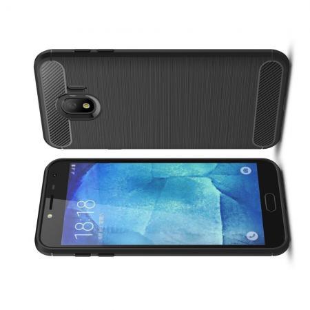 Carbon Fibre Силиконовый матовый бампер чехол для Samsung Galaxy J4 2018 SM-J400 Черный