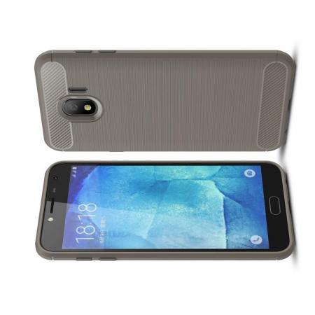 Carbon Fibre Силиконовый матовый бампер чехол для Samsung Galaxy J4 2018 SM-J400 Серый