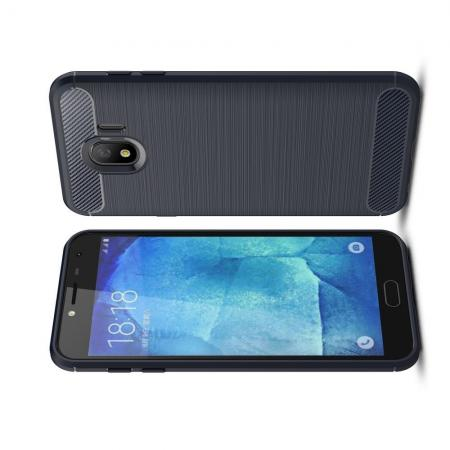 Carbon Fibre Силиконовый матовый бампер чехол для Samsung Galaxy J4 2018 SM-J400 Синий